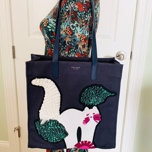 KAte Spade kitt embellished large NS tote cat new